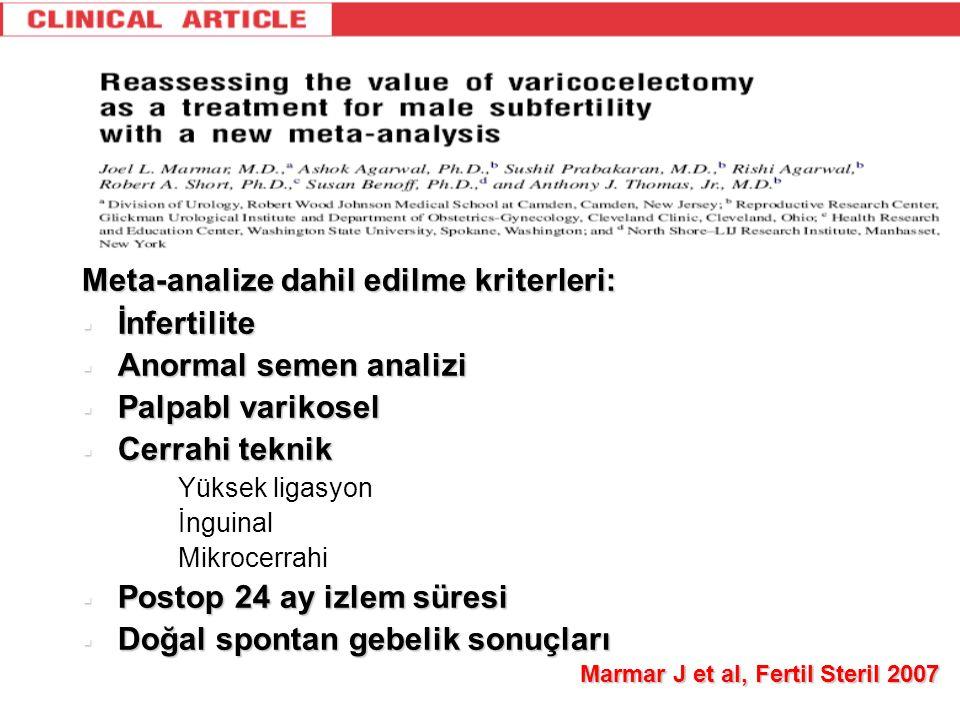 Meta-analize dahil edilme kriterleri: İnfertilite