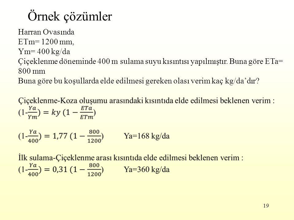 Örnek çözümler Harran Ovasında ETm= 1200 mm, Ym= 400 kg/da