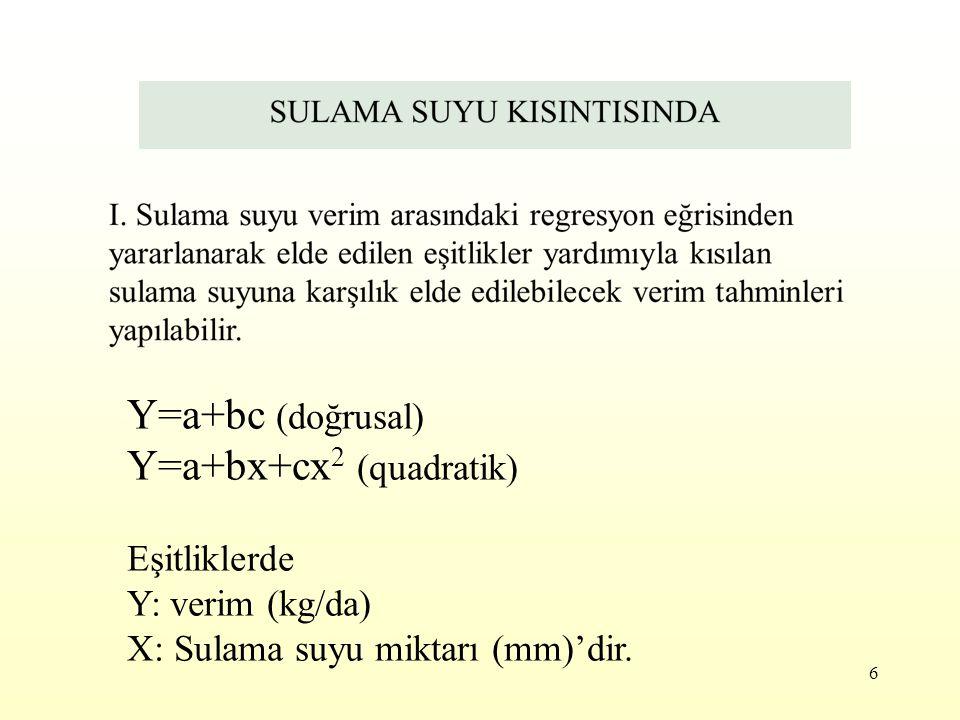 Y=a+bx+cx2 (quadratik)