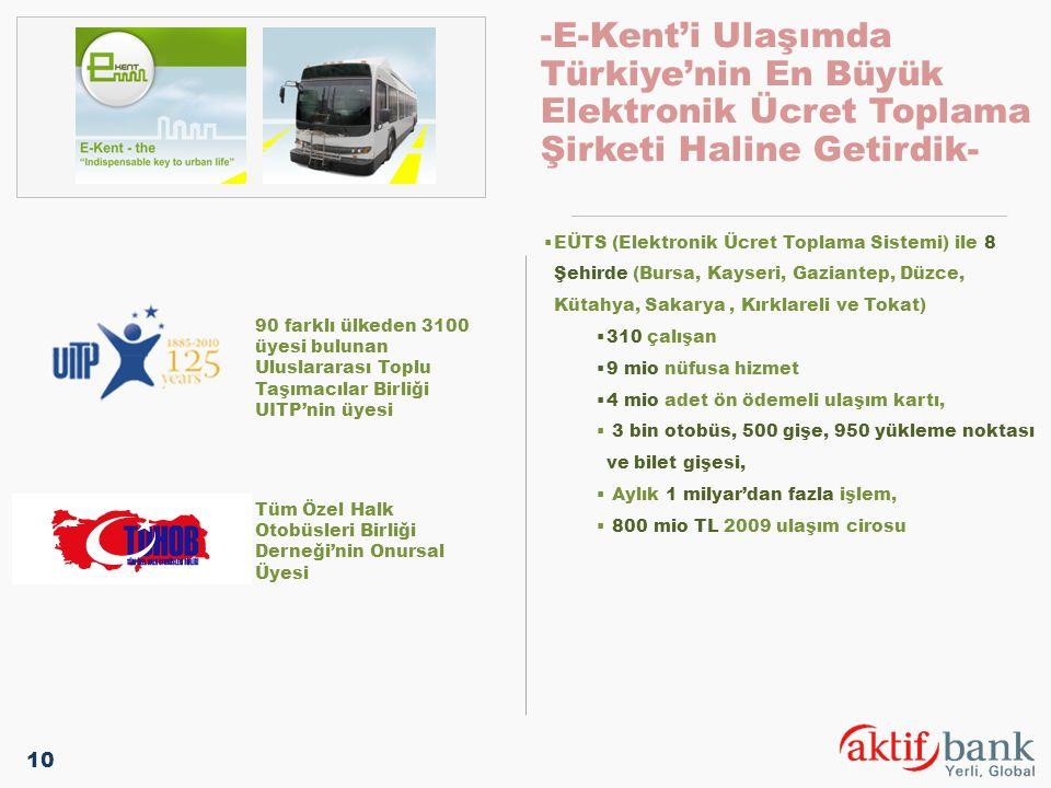-E-Kent'i Ulaşımda Türkiye'nin En Büyük Elektronik Ücret Toplama Şirketi Haline Getirdik-