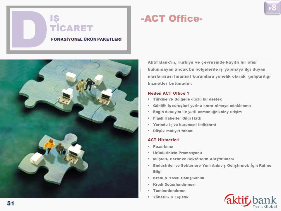 P8 -ACT Office- Aktif Bank'ın, Türkiye ve çevresinde kayıtlı bir ofisi. bulunmayan ancak bu bölgelerde iş yapmaya ilgi duyan.