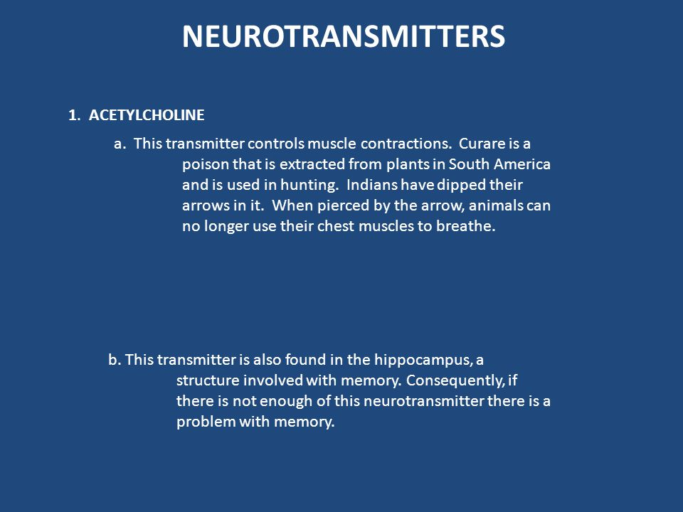 NEUROTRANSMITTERS 1. ACETYLCHOLINE
