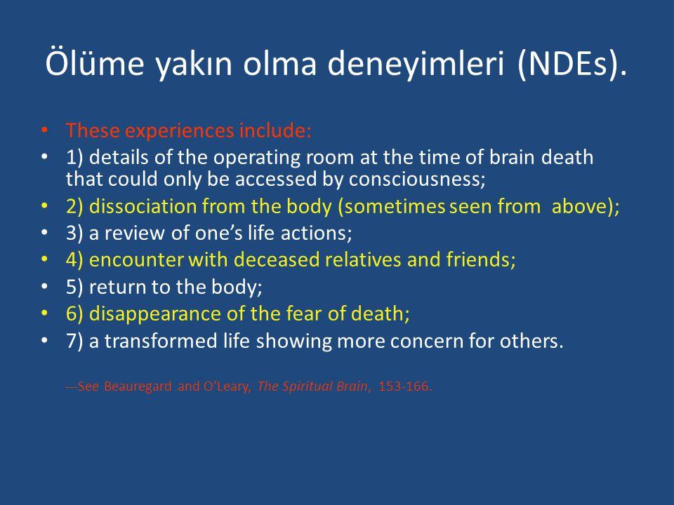 Ölüme yakın olma deneyimleri (NDEs).