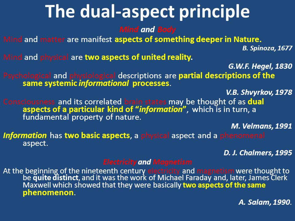 The dual-aspect principle