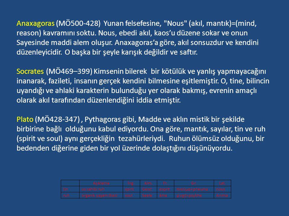 Anaxagoras (MÖ500-428) Yunan felsefesine, Nous (akıl, mantık)=(mind,