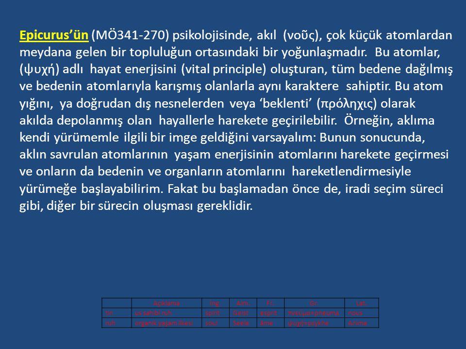 Epicurus'ün (MÖ341-270) psikolojisinde, akıl (νοῦς), çok küçük atomlardan meydana gelen bir topluluğun ortasındaki bir yoğunlaşmadır. Bu atomlar, (ψυχή) adlı hayat enerjisini (vital principle) oluşturan, tüm bedene dağılmış ve bedenin atomlarıyla karışmış olanlarla aynı karaktere sahiptir. Bu atom yığını, ya doğrudan dış nesnelerden veya 'beklenti' (πρόληχις) olarak akılda depolanmış olan hayallerle harekete geçirilebilir. Örneğin, aklıma kendi yürümemle ilgili bir imge geldiğini varsayalım: Bunun sonucunda, aklın savrulan atomlarının yaşam enerjisinin atomlarını harekete geçirmesi ve onların da bedenin ve organların atomlarını hareketlendirmesiyle yürümeğe başlayabilirim. Fakat bu başlamadan önce de, iradi seçim süreci gibi, diğer bir sürecin oluşması gereklidir.