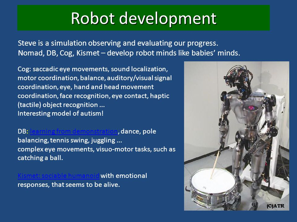 Robot development Steve is a simulation observing and evaluating our progress. Nomad, DB, Cog, Kismet – develop robot minds like babies' minds.
