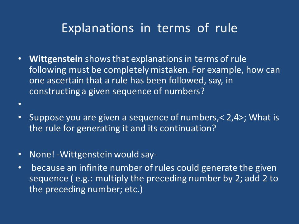 Explanations in terms of rule