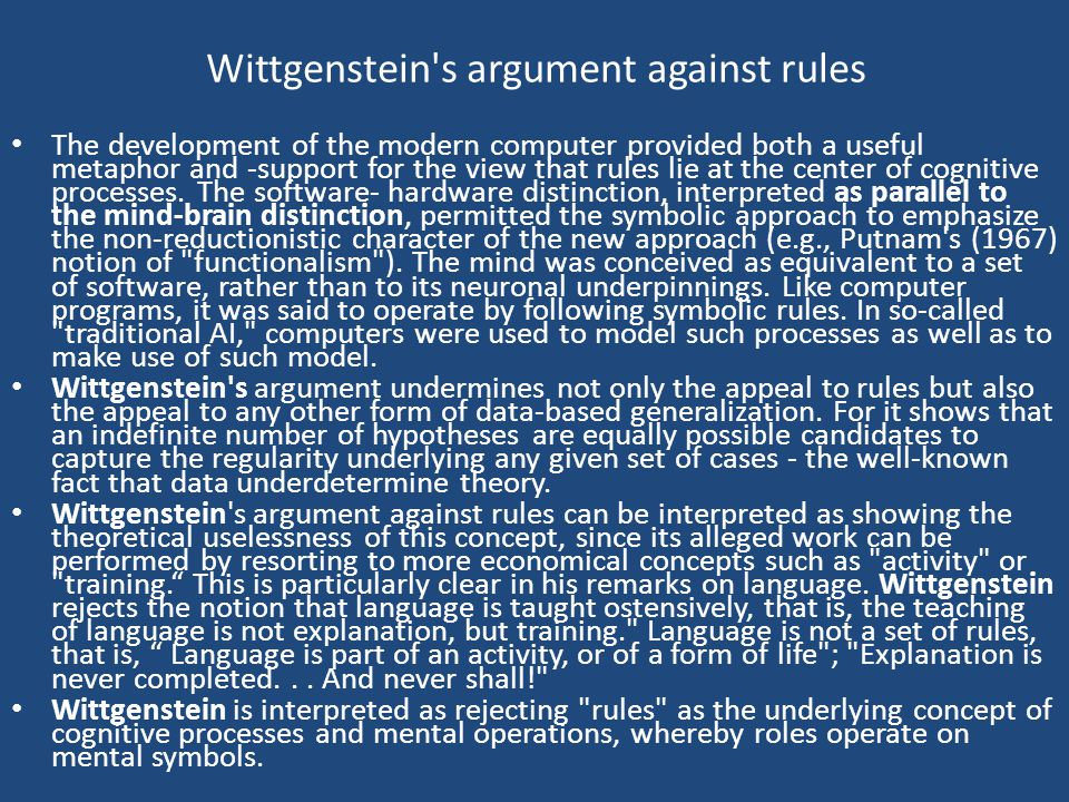 Wittgenstein s argument against rules