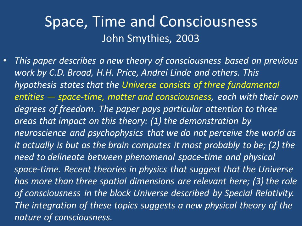 Space, Time and Consciousness John Smythies, 2003
