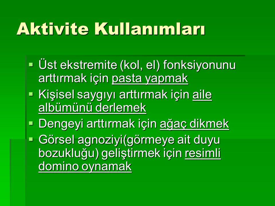 Aktivite Kullanımları