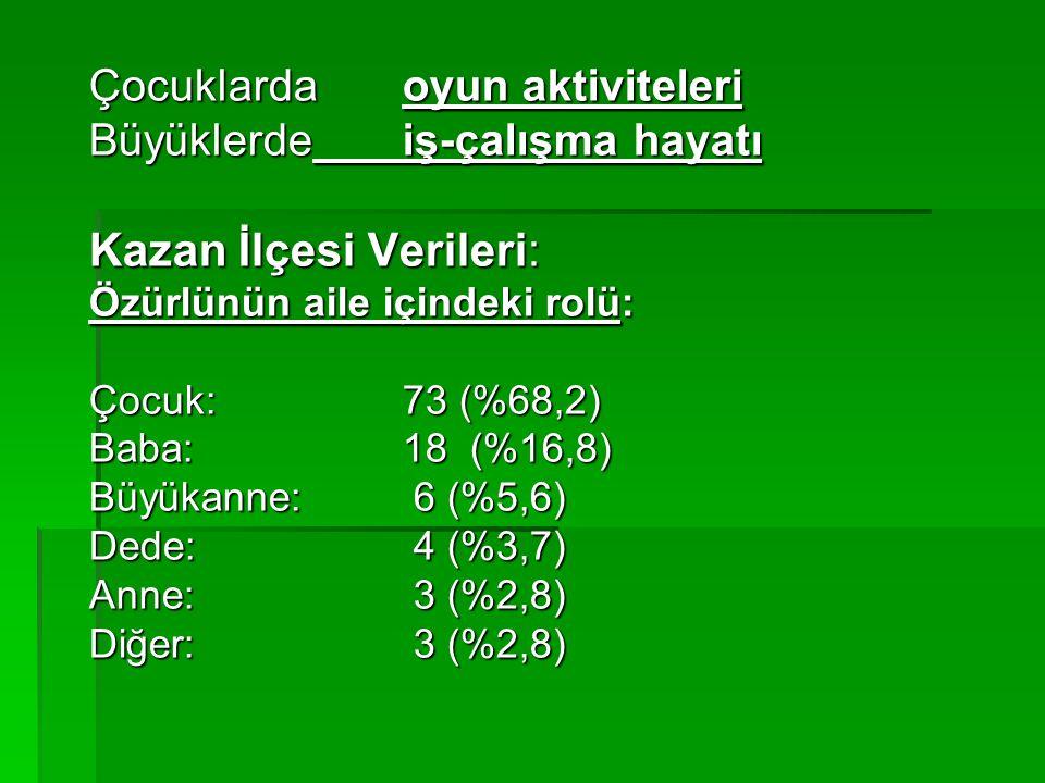 Kazan İlçesi Verileri: