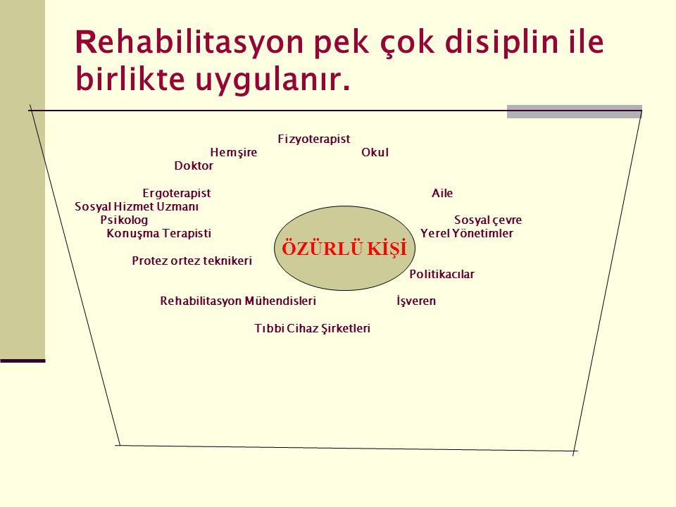 Rehabilitasyon pek çok disiplin ile birlikte uygulanır.