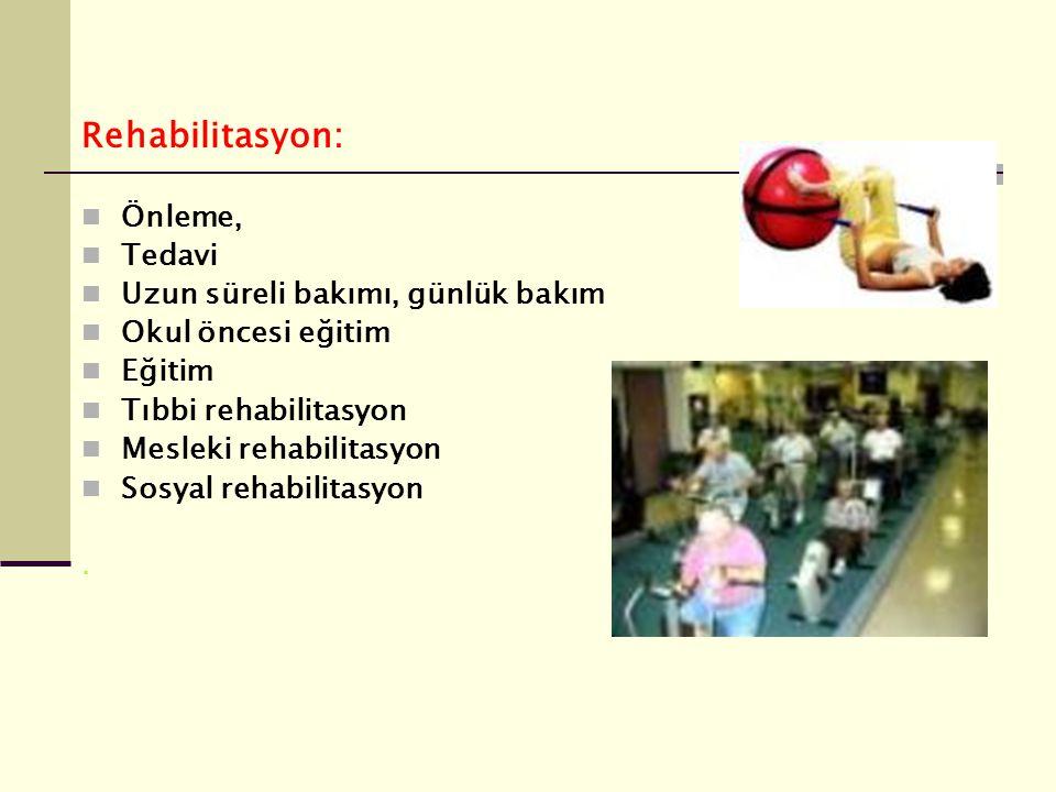 Rehabilitasyon: Önleme, Tedavi Uzun süreli bakımı, günlük bakım