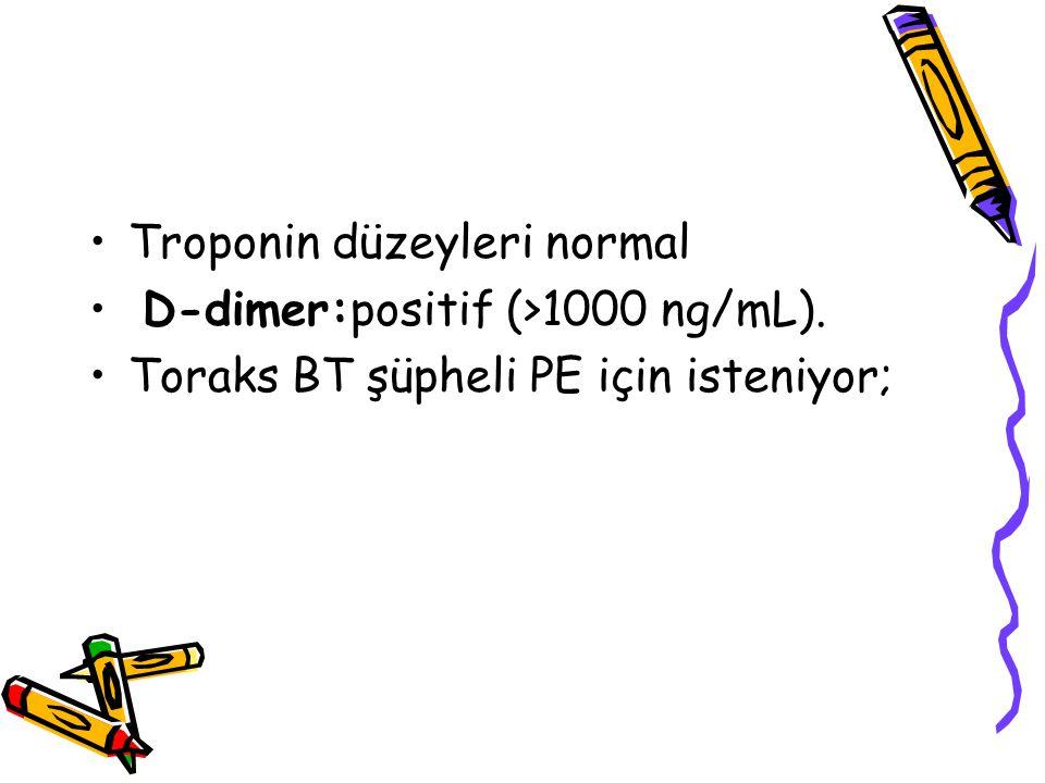 Troponin düzeyleri normal
