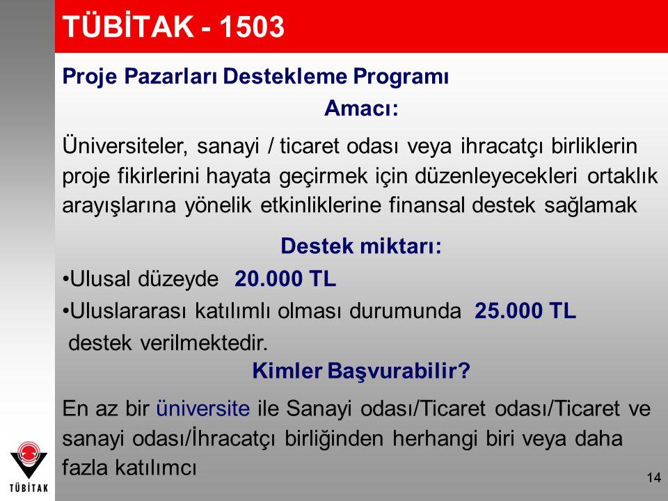 TÜBİTAK - 1503 Proje Pazarları Destekleme Programı Amacı: