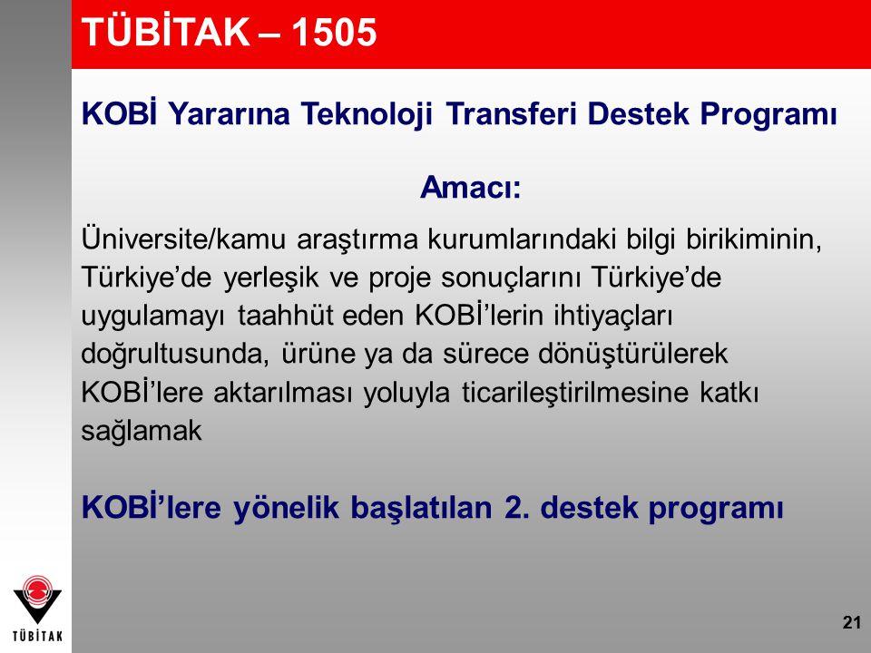 TÜBİTAK – 1505 KOBİ Yararına Teknoloji Transferi Destek Programı