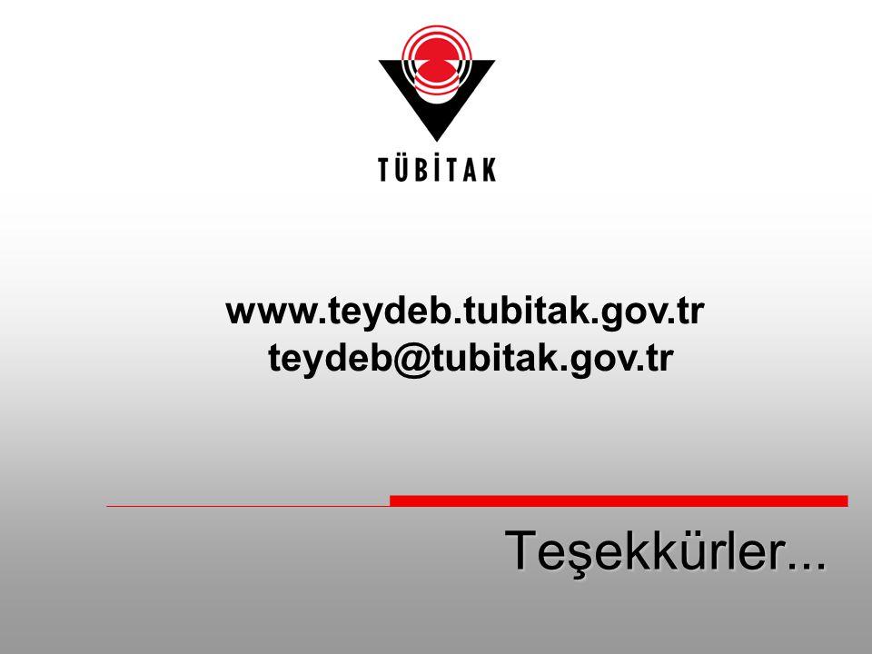 www.teydeb.tubitak.gov.tr teydeb@tubitak.gov.tr Teşekkürler...