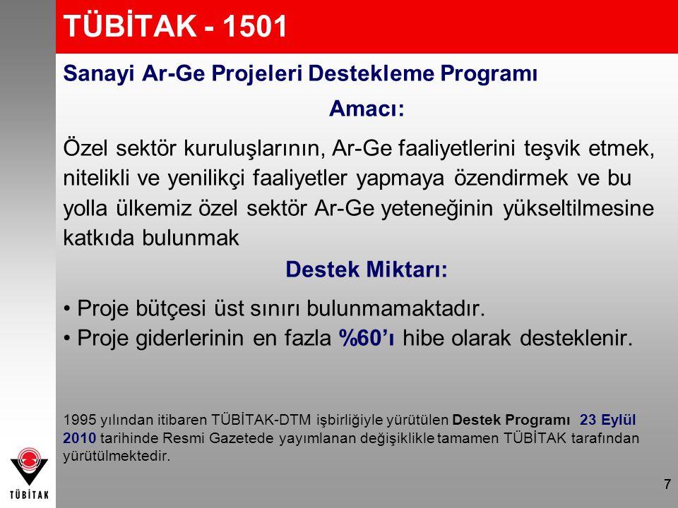 TÜBİTAK - 1501 Sanayi Ar-Ge Projeleri Destekleme Programı Amacı: