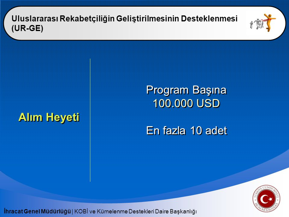 Program Başına 100.000 USD En fazla 10 adet Alım Heyeti