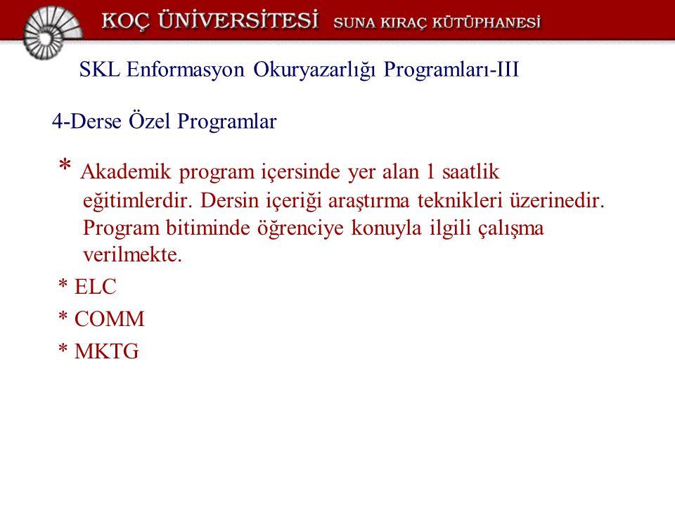 4-Derse Özel Programlar