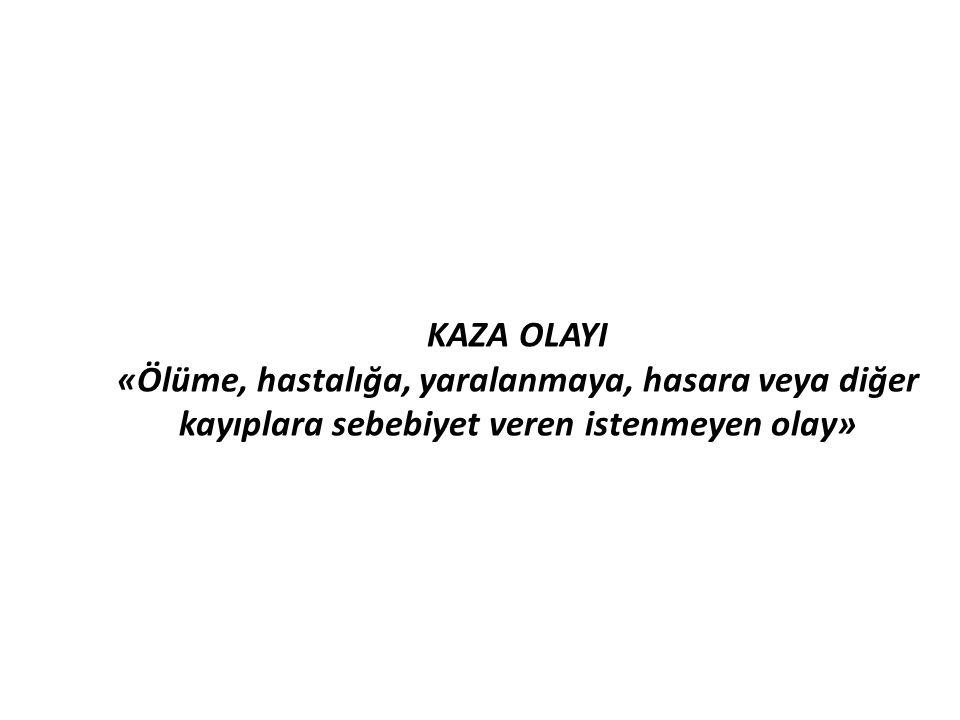 KAZA OLAYI «Ölüme, hastalığa, yaralanmaya, hasara veya diğer kayıplara sebebiyet veren istenmeyen olay»