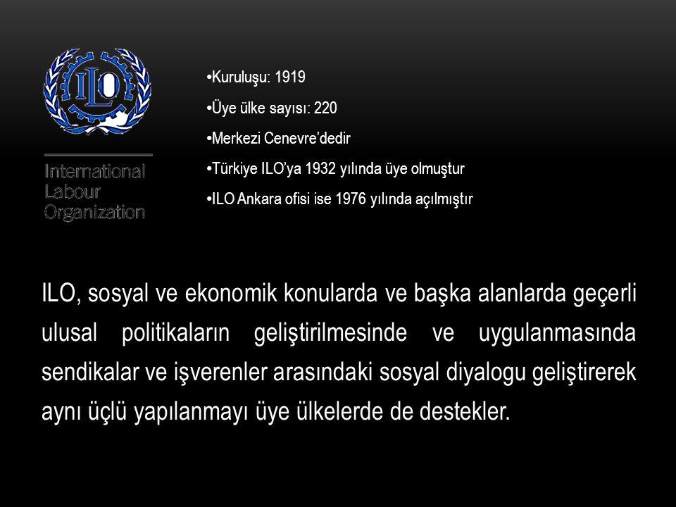 Kuruluşu: 1919 Üye ülke sayısı: 220. Merkezi Cenevre'dedir. Türkiye ILO'ya 1932 yılında üye olmuştur.