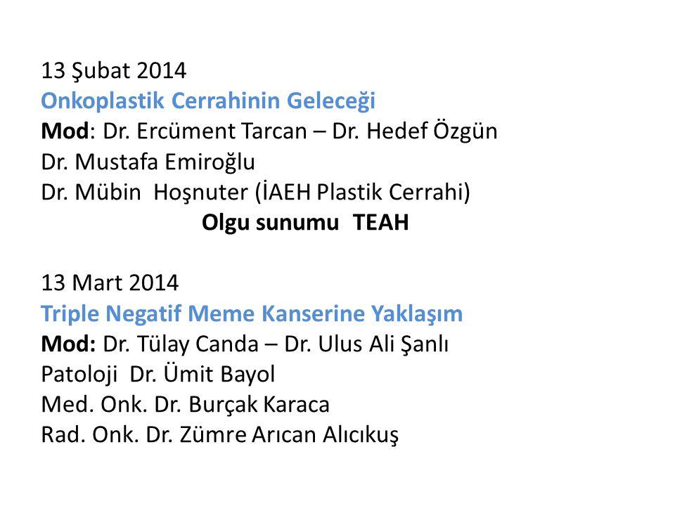 13 Şubat 2014 Onkoplastik Cerrahinin Geleceği Mod: Dr