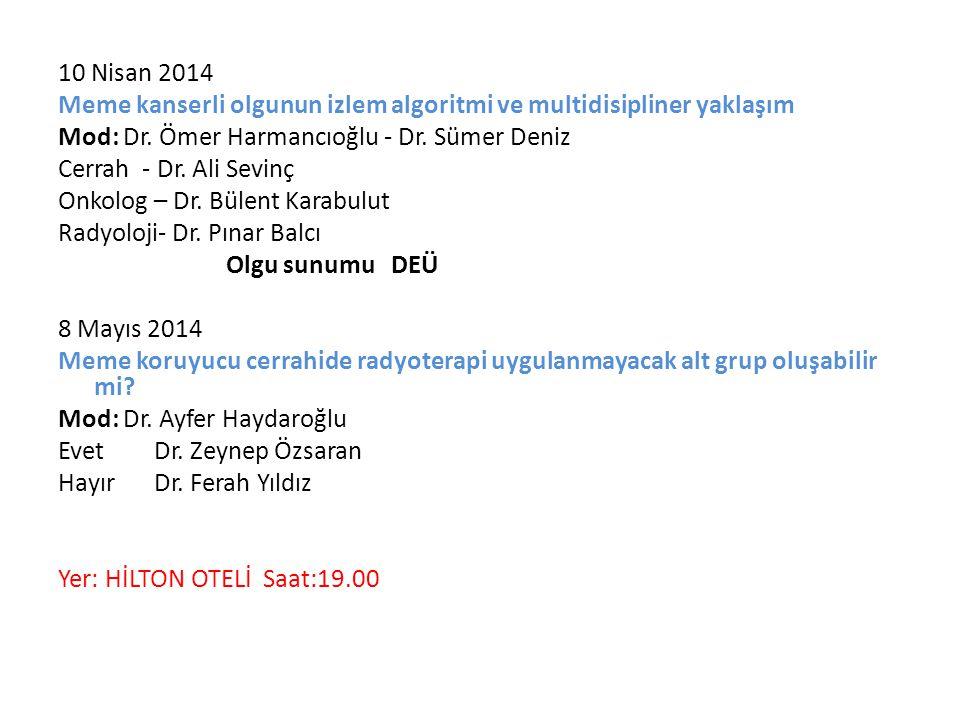 10 Nisan 2014 Meme kanserli olgunun izlem algoritmi ve multidisipliner yaklaşım Mod: Dr.