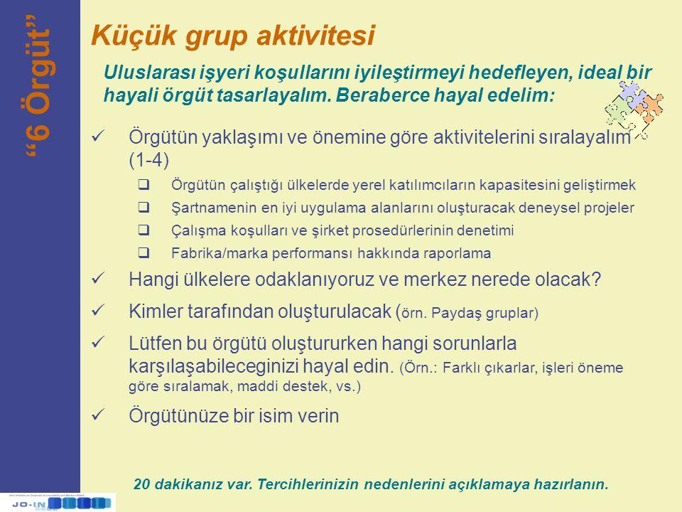 6 Örgüt Küçük grup aktivitesi