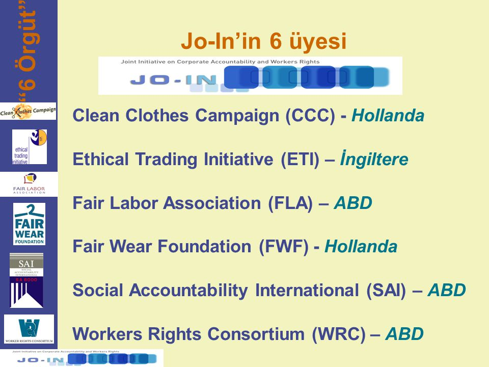 6 Örgüt Jo-In'in 6 üyesi Clean Clothes Campaign (CCC) - Hollanda