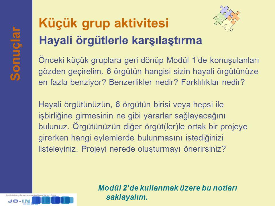 Küçük grup aktivitesi Sonuçlar Hayali örgütlerle karşılaştırma