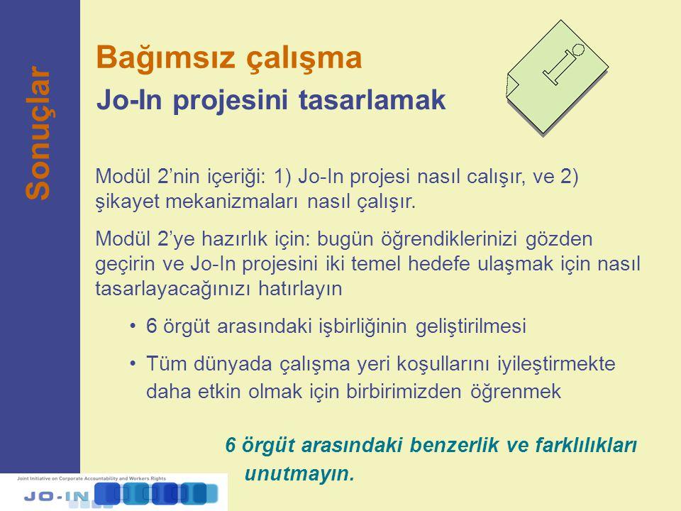 Bağımsız çalışma Sonuçlar Jo-In projesini tasarlamak