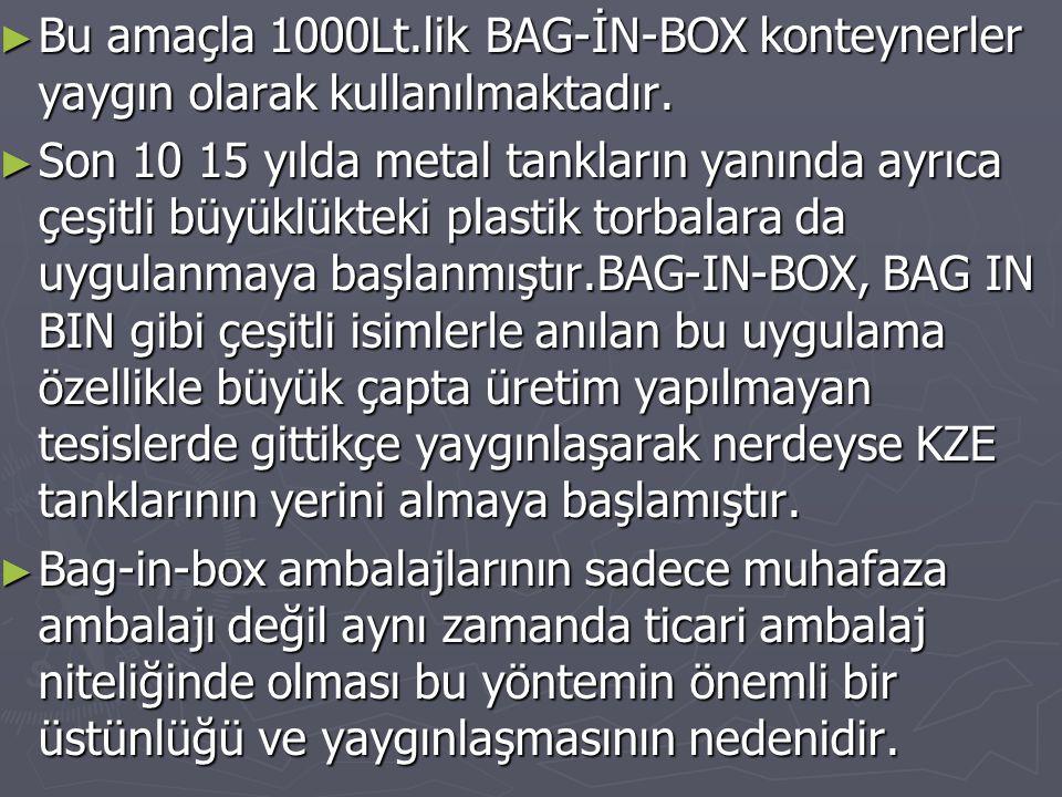 Bu amaçla 1000Lt.lik BAG-İN-BOX konteynerler yaygın olarak kullanılmaktadır.