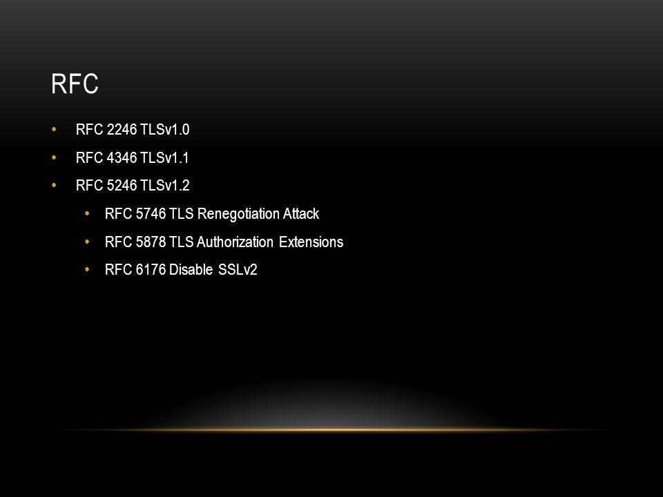 RFC RFC 2246 TLSv1.0 RFC 4346 TLSv1.1 RFC 5246 TLSv1.2