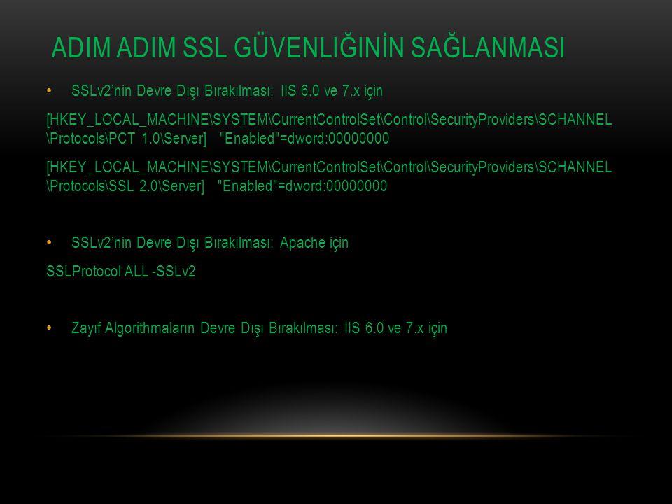ADIM aDIM SSL Güvenliğinİn SağlanmasI