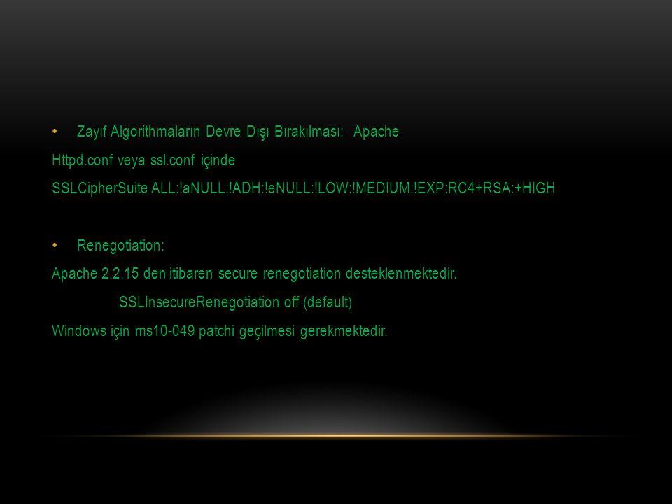 Zayıf Algorithmaların Devre Dışı Bırakılması: Apache
