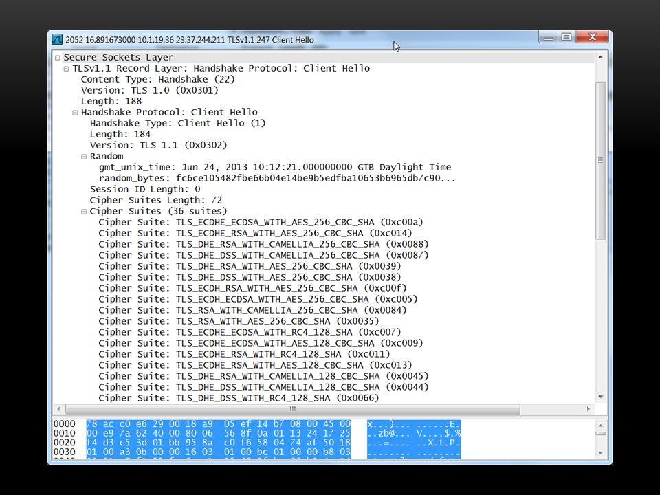 Client 36 adet cipher suite göndermiş