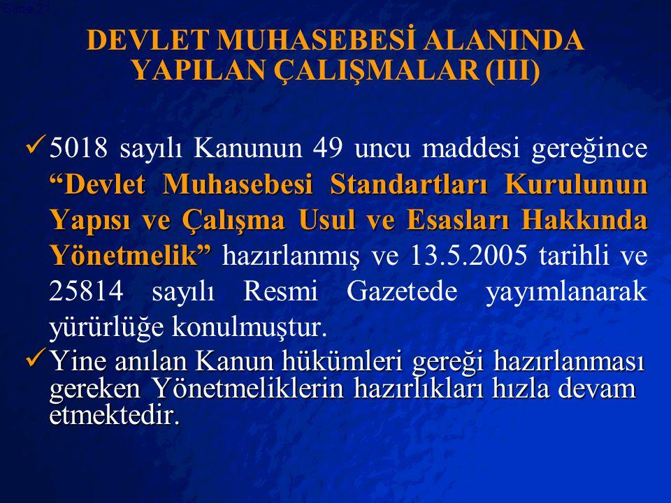 DEVLET MUHASEBESİ ALANINDA YAPILAN ÇALIŞMALAR (III)