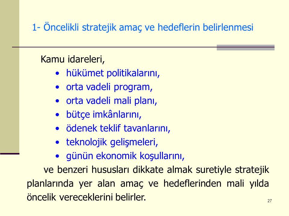 1- Öncelikli stratejik amaç ve hedeflerin belirlenmesi