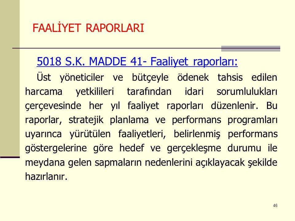 5018 S.K. MADDE 41- Faaliyet raporları: