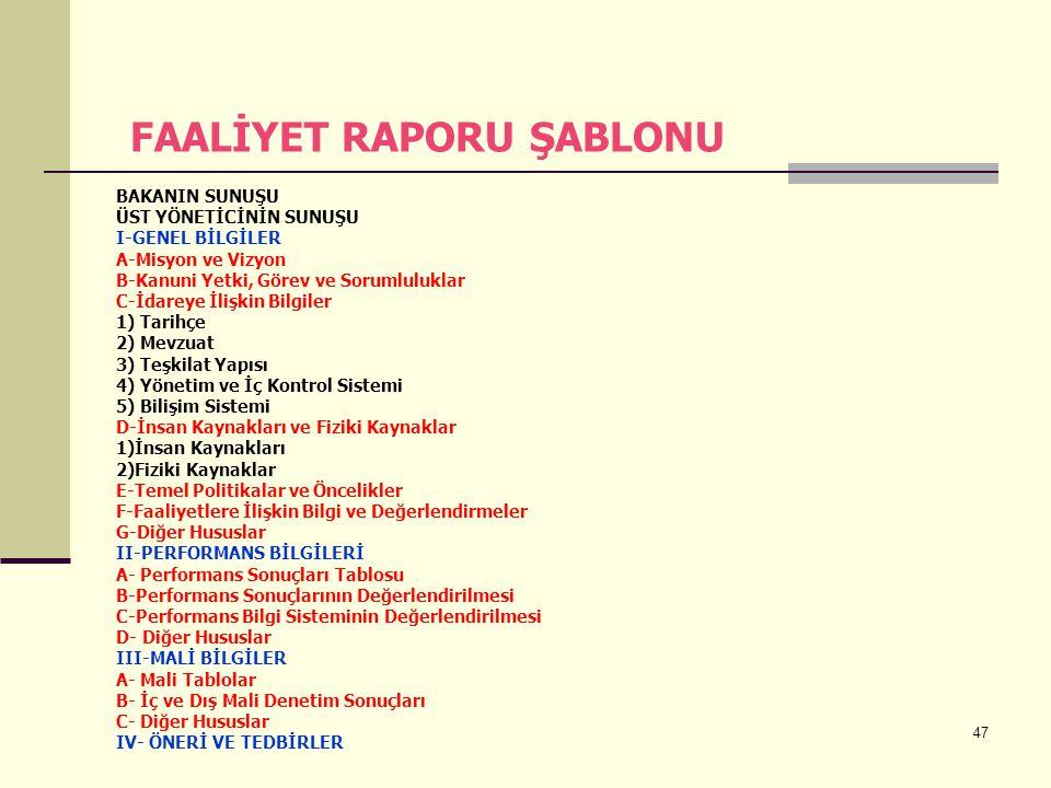 FAALİYET RAPORU ŞABLONU
