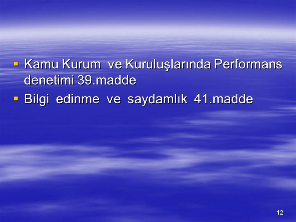 Kamu Kurum ve Kuruluşlarında Performans denetimi 39.madde