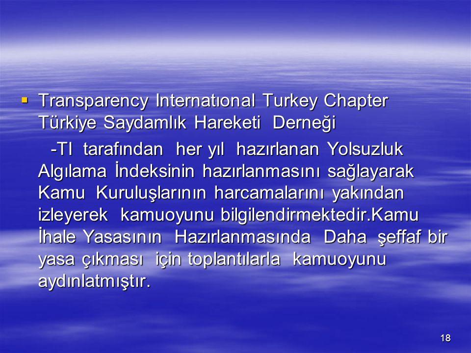 Transparency Internatıonal Turkey Chapter Türkiye Saydamlık Hareketi Derneği