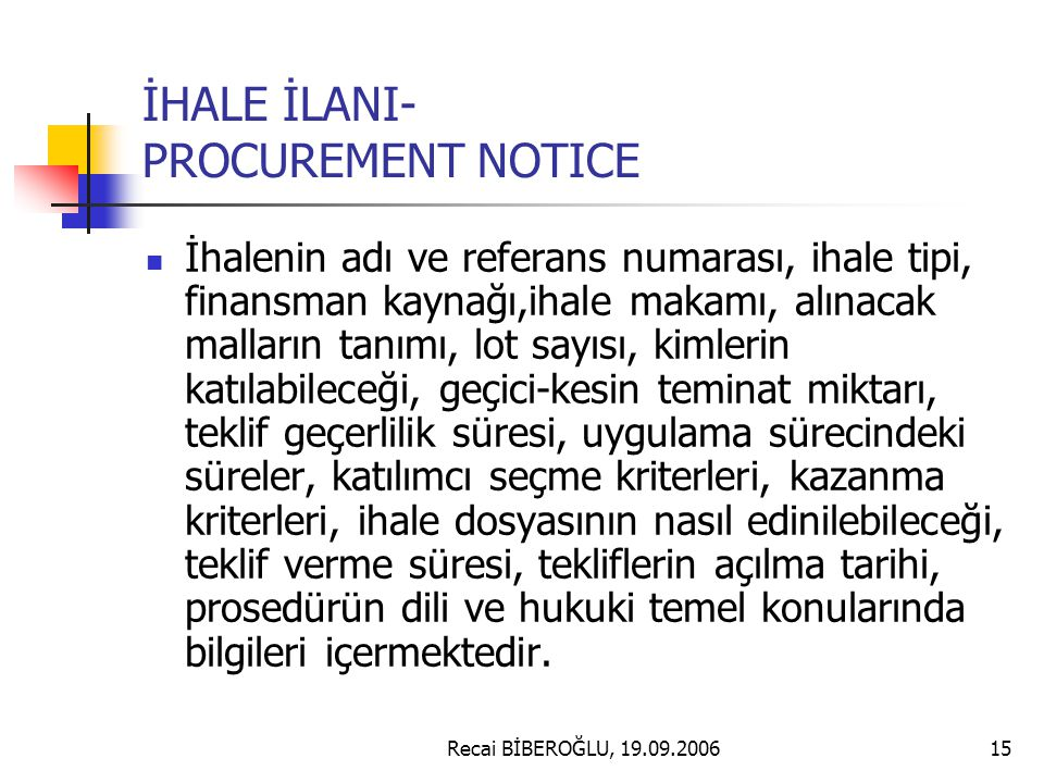 İHALE İLANI- PROCUREMENT NOTICE
