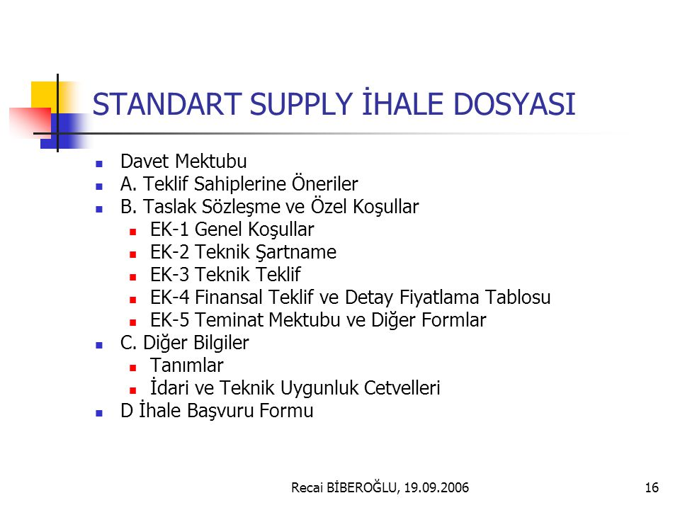 STANDART SUPPLY İHALE DOSYASI