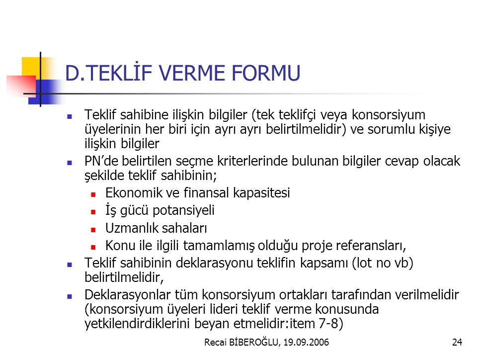 D.TEKLİF VERME FORMU