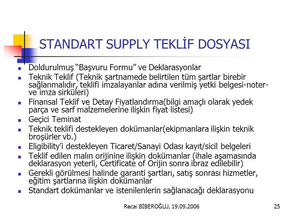 STANDART SUPPLY TEKLİF DOSYASI
