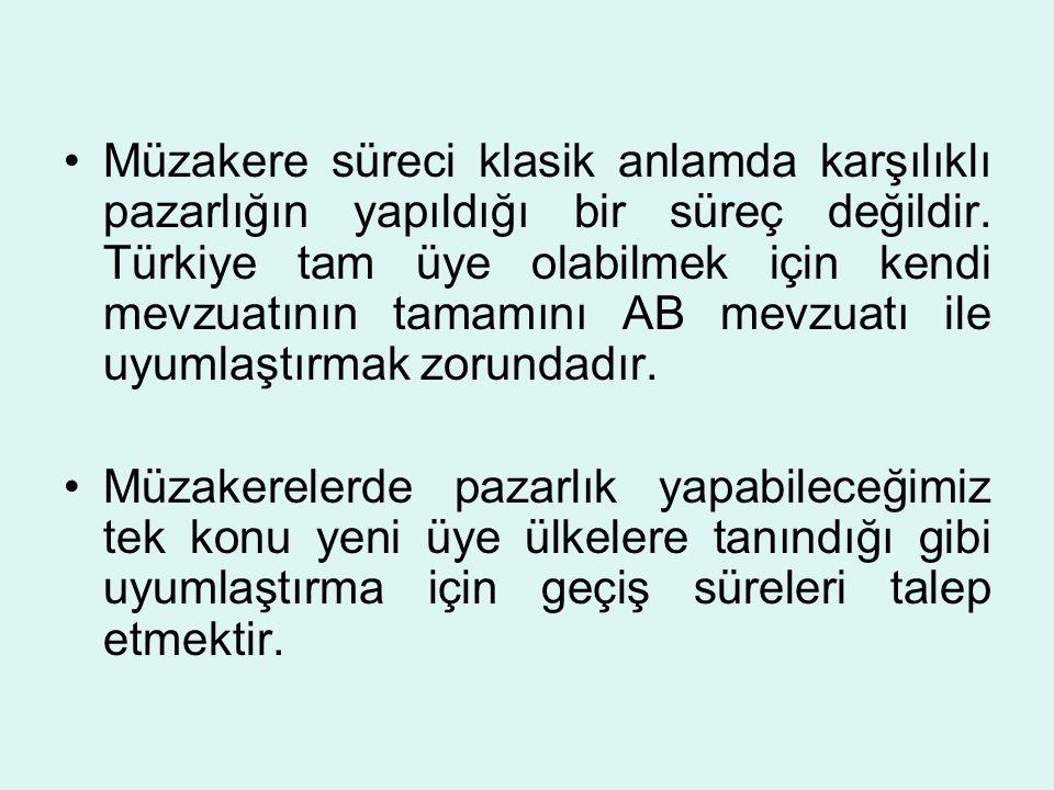 Müzakere süreci klasik anlamda karşılıklı pazarlığın yapıldığı bir süreç değildir. Türkiye tam üye olabilmek için kendi mevzuatının tamamını AB mevzuatı ile uyumlaştırmak zorundadır.