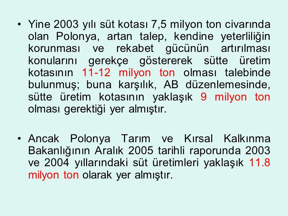 Yine 2003 yılı süt kotası 7,5 milyon ton civarında olan Polonya, artan talep, kendine yeterliliğin korunması ve rekabet gücünün artırılması konularını gerekçe göstererek sütte üretim kotasının 11-12 milyon ton olması talebinde bulunmuş; buna karşılık, AB düzenlemesinde, sütte üretim kotasının yaklaşık 9 milyon ton olması gerektiği yer almıştır.